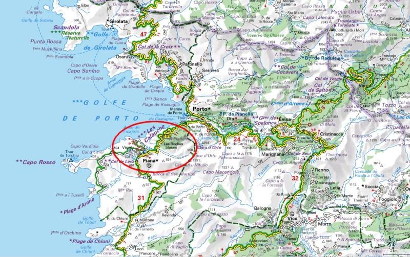 Carte Corse Calanque De Piana.Les Calanche De Piana